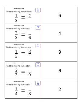 Equivalent Fractions Flash Cards: EngageNY 5th Grade Math Module 3 / FSA Review
