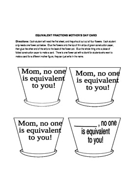 Equivalent Fractions Flowers/Mother's Day Card