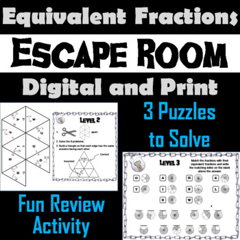 Equivalent Fractions Escape Room Math Activity