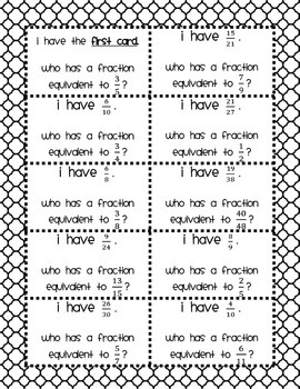 Fractions: Equivalent Game - I have..., who has..?