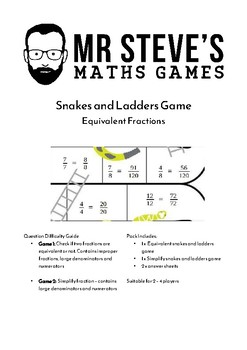 Equivalent Fractions Game Snakes and Ladders Simplify Year 5 6 7 ACMNA155