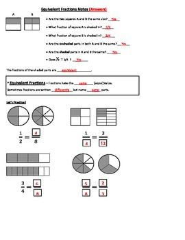Equivalent Fractions Guided Notes