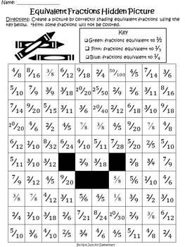 Equivalent Fractions: Hidden Bunny Picture