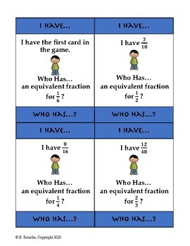 Equivalent Fractions I Have...Who Has...?