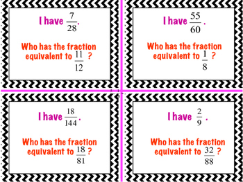 Equivalent Fractions- I Have, Who Has? Card Game