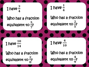 Equivalent Fractions I Have Who Has Game
