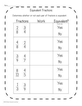 Equivalent Fractions Interactive Notebook Activity & Quick Check TEKS 4.3C