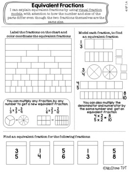 Equivalent Fractions Interactive Notebook Page