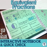 Equivalent Fractions Interactive Notebook & Quick Check TEKS 3.3F & 3.3G
