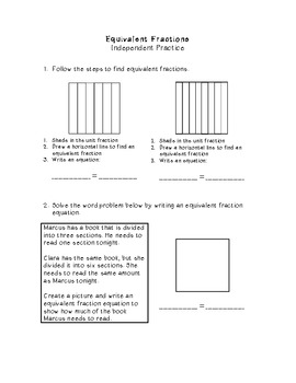 Equivalent Fractions Lesson Plan and Activities