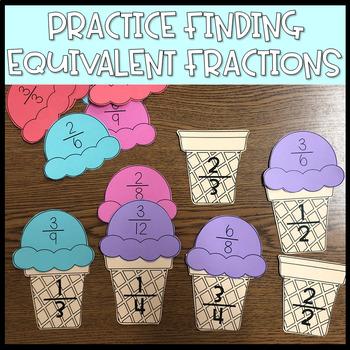 Equivalent Fraction Ice Cream Matching Activity