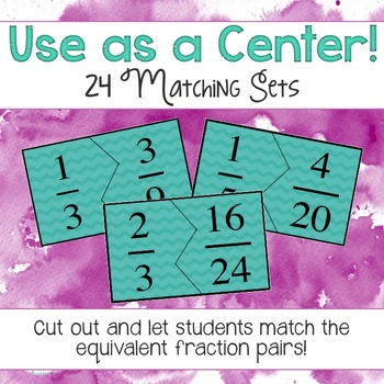 Equivalent Fractions Matching Center and Game