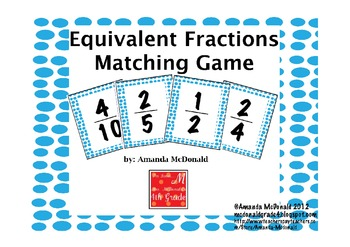 graphic regarding Equivalent Fractions Games Printable titled Related Fractions Matching Recreation Worksheets TpT