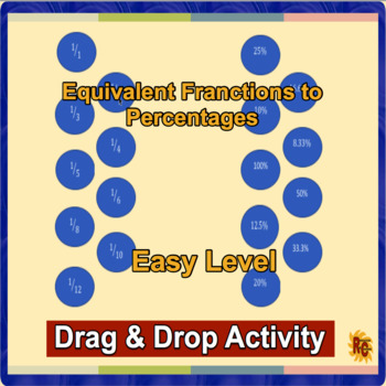 Equivalent Fractions Interactive Drag & Drop Game & Printable Cards Easy Level