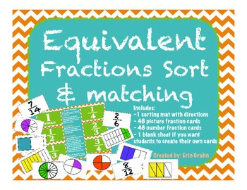 Equivalent Fractions Matching and Sorting Activity