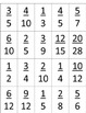 Equivalent Fractions Matching Memory Cards & Student Record Sheet