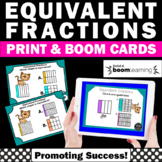 Equivalent Fractions BOOM Cards Distance Learning 3rd Grade Math Review Digital