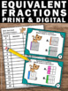 Equivalent Fractions Game, Fraction Task Cards 3rd Grade Math Review SCOOT