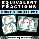 Equivalent Fractions Task Cards with Visuals, 3rd Grade Math Review SCOOT Game