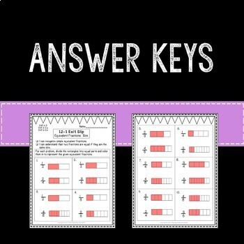 Equivalent Fractions Math Exit Slips 3rd Grade Common Core