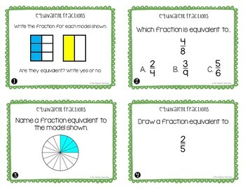 Equivalent Fractions Task Cards for 4th Grade