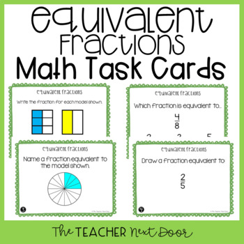 Equivalent Fractions Task Cards |Equivalent Fractions Center Game