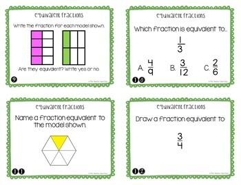 4th Grade Equivalent Fractions Task Cards | Equivalent Fractions Center Game