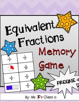 Equivalent Fractions Memory Game - Common Core Aligned