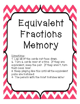 Equivalent Fractions Memory Game Common Core Aligned 3.NF.3