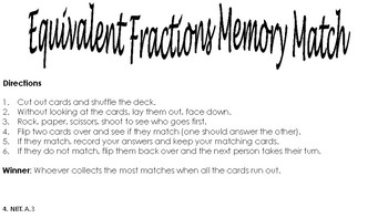 Equivalent Fractions Memory Match 4th and 5th Grade