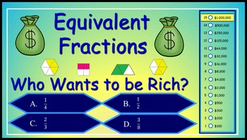 Equivalent Fractions Power Point Millionaire Game for 3rd Grade