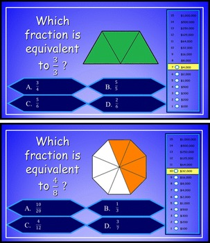 Equivalent Fractions Power Point Millionaire Game for 4th Grade