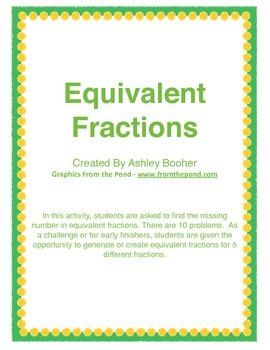 Equivalent Fractions - Missing Numerators & Denominators