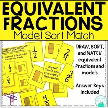 Equivalent Fractions - Model, Sort, Match