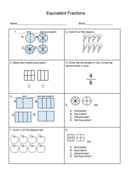 Equivalent Fractions Multiple Choice