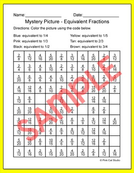 Equivalent Fractions Mystery Picture. - Owl Graduate