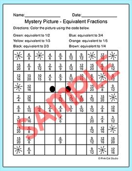 Winter Math Equivalent Fractions Snowman Mystery Picture