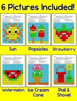Equivalent Fractions Summer Mystery Pictures Bundle