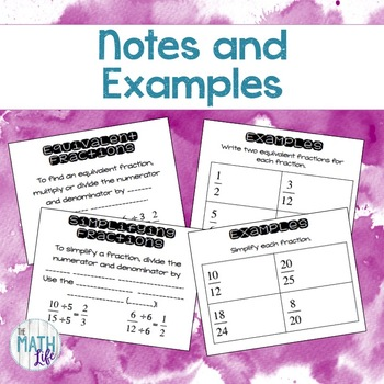 Simplifying and Equivalent Fractions Notebook Foldable