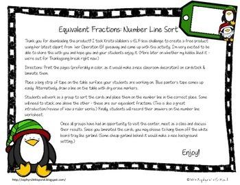 FREEBIE Equivalent Fractions: Number Line Sort {Math Center}