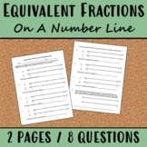 Equivalent Fractions On A Number Line Worksheet 3.NF.A.3a