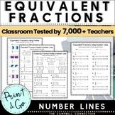 Equivalent Fractions Worksheets on a Number Line