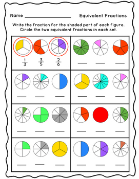Equivalent Fractions Practice Pages