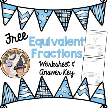 FREE Equivalent Fractions Simplify Practice Worksheet Homework