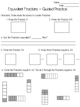 Equivalent Fractions Practice Worksheet