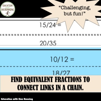 Equivalent Fractions Paper Chain Activity to engage students (5.NF.A.1.)