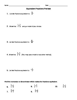 Equivalent Fractions Pre-Test EDITABLE