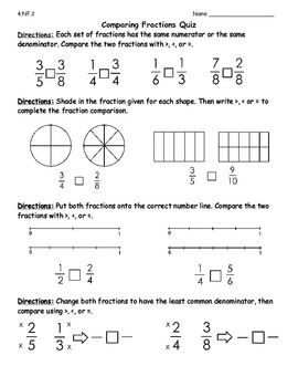 Equivalent Fractions Quiz and Comparing Fractions Quiz
