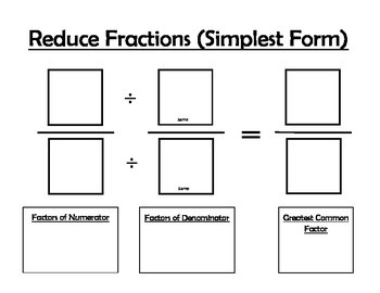 Equivalent Fractions & Reducing Fractions Math Mats