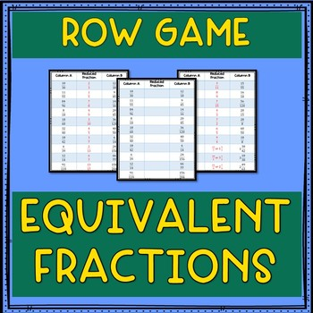Equivalent Fractions Row Game